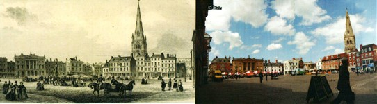 Photo:Little changed: Newark Market Place in 1852 (left) and today (right).