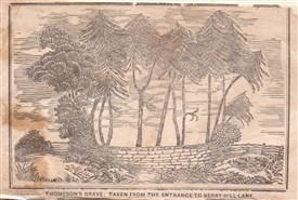 Photo:A woodcut from 1847 depicting Thompson's Grave.