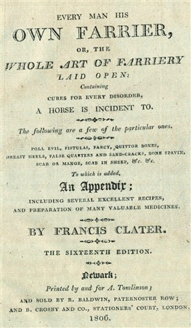 Photo:Title page from an 1806 edition of Francis Clater's first book, published by A. Tomlinson in Newark.